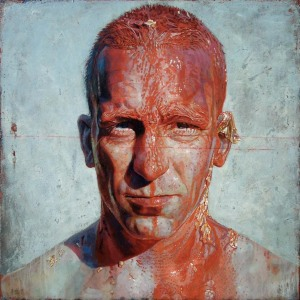 Daniel Barkley Grosse tete rouge, 2012, acrylic on wood 36x36